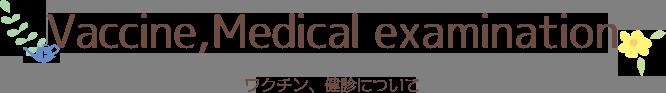 Caccine,Medical examination ワクチン、健診について